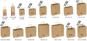 Mẫu in túi giấy có nhiều kích cỡ khác nhau tùy theo sản phẩm được chứa đựng.