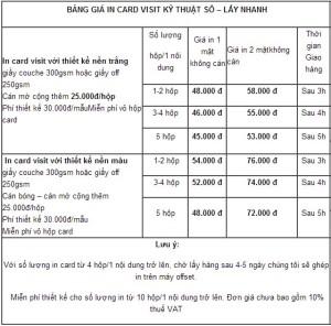 Bảng giá tham khảo cho dịch vụ in card visit nhanh tại in ấn Đại Dương.  (giá trên in trên thực tế có thể đã thay đổi)