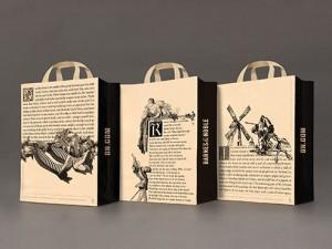 3 mẫu túi in các câu chuyện Wizard of Oz, Romeo và Juliet, Don Quixote (từ trái qua phải)