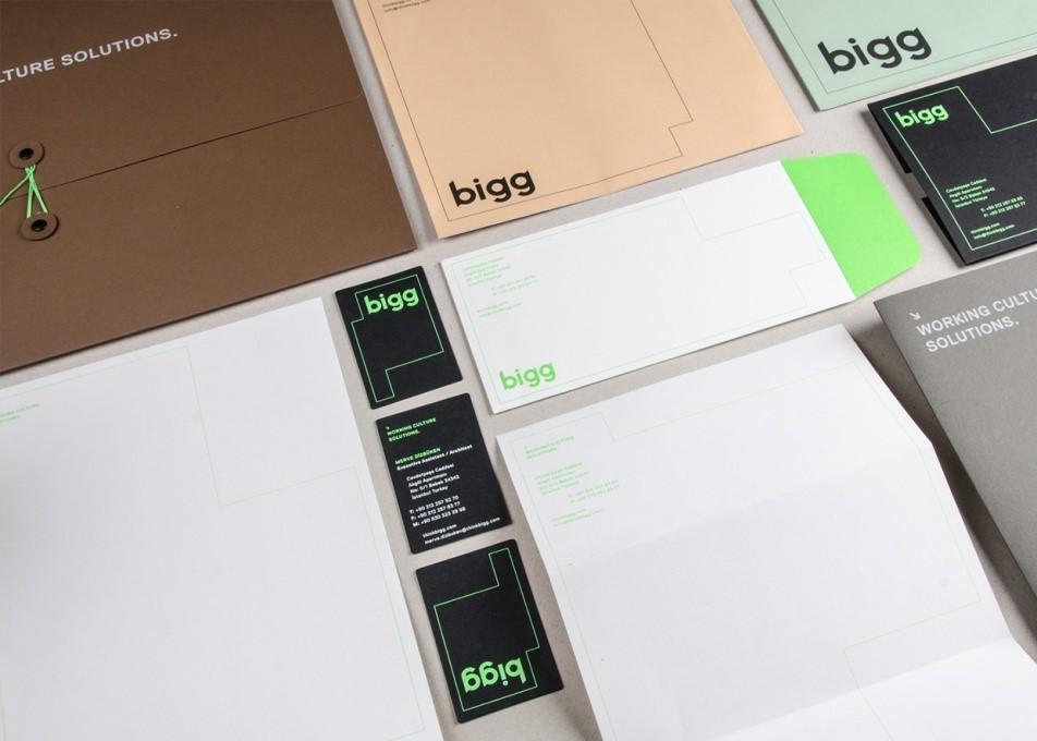 Bigg sở hữu mẫu in bộ nhận diện thương hiệu đẹp.